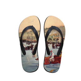 painting sandals Australia - Design Man Flip Flops Beach Anti-slip Sandals Casual Anti-Slip Unisex Flat Beach Shoes Horse and Nature Painting Print Slippers