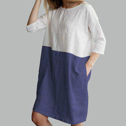 bbecbde526 Women Fashion New Style Dress Casual Outdoor Beachwear Loose Pocket  Nightclub Party Ladies Stitching Half Sleeve Cotton and Linen Dress