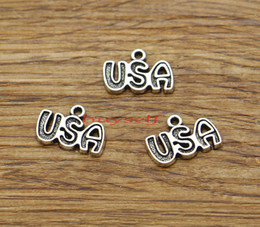 Word Charms Australia - USA Charm New York City Usa Flag Word Charms 100pcs lot Antique Silver Tone 15*11mm 1891