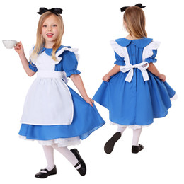 Wholesale lolita cosplay xl for sale - Group buy Children Girls Blue Alice in Wonderland Costume Halloween Carnival Lolita Maid Cosplay Dress S XL