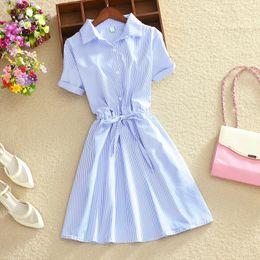 Solid puffed Sleeve t Shirt online shopping - Soperwillton Office Summer Style Boho T Shirt Dress Lady Elegant Blue Striped Wear to Work Shirts Women Dresses Mini A728
