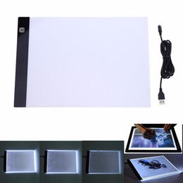 a4 pads UK - Super Thin Digital Tablets A4 LED Graphic Artist Thin Art Stencil Drawing Board Light Box Tracing Table Pad Three-level For Copy