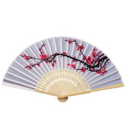 Plum blossoms art online shopping - Classical Art Fans Bamboo Plum Blossom Printed Fans For Party Favors Crafts Chinese Styles Factory Direct sy E1