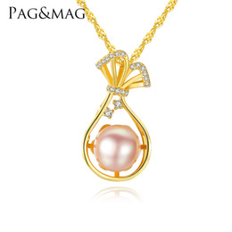 Necklaces Pendants Australia - PAG&MAG18K gold-color 925 Sterling Silver Water Bottle Necklace Inlaid CZ Natural Pearl Pendant For Women Jewelry Wedding Gift