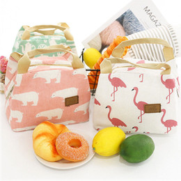 $enCountryForm.capitalKeyWord Australia - Animal Flamingo Bear Lunch Bags Women Portable Functional Canvas Insulated Thermal Picnic Kids Cooler Lunch Box Bag Tote