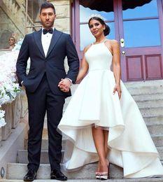 $enCountryForm.capitalKeyWord Australia - Modest Simple Wedding Dresses Hi Low Halter Neck Satin A-Line Sleeveless 2019 Custom Made Wedding Party Formal Beach Bridal Gowns