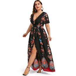 maxi dress empire bohemian style Australia - Rosegal Plus Size Printed Maxi Split Dress Short Sleeves Bohemian Beach Style Floor Lengths Maxi Dress Bodycon Long Party Dress Y19071001