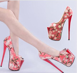 $enCountryForm.capitalKeyWord Australia - Embroidered Ethnic Style Peep Toe Women's Party Shoes Ultra High Heels 20 22cm Platform Sexy Female Pumps Big Size: 34--47