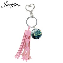 Discount painted glasses - Van Gogh Oil Painting Keychain Glass Pink Tassel Heart Clasps Starry Sky Keyring Key Chian For Bag Key Decoration NS387