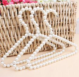 Hanger Clothes Save Space Australia - 20cm Plastic Pearl Beaded Clothes Dress Coat Hangers Wedding For Pet Kid Children Save-Space Storage Organizer