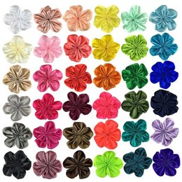 flower shoes kids NZ - 3 inch Mini Ribbon Flower Hair Accessories For Girls Kids Children Handmade headband Fabric Flowers For Hair Clip clothing shoe