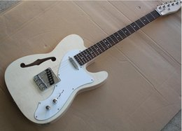 $enCountryForm.capitalKeyWord Australia - free shipping Factory Semi-hollow Electric Guitar with No Paint,White Pickguard,Rosewood Fretboard,Flame Maple Veneer,Can be customized