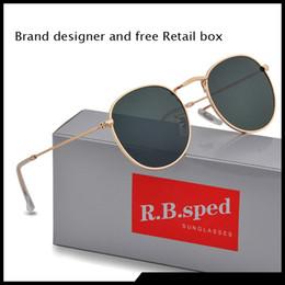 Lenses bLue online shopping - Round Sunglasses Men Women Eyewear Sun Glasses Brand Designer Gold Metal Frame uv400 Lenses With Better Quality Brown Cases and box
