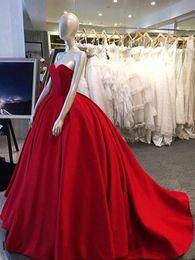 $enCountryForm.capitalKeyWord NZ - Red Ball Gown Prom Dresses 2019 Sweetheart Satin Floor Length Elegant Robe De Soiree Plus Size Formal Evening Gowns DP0316