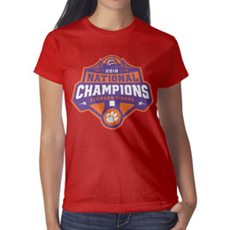 Tigers T Shirts Australia - Clemson Tigers National Champions 2018 Women Tee Retro Outdoor Cheap T Shirts Design Crew Neck Shirts Womans Black T Shirt