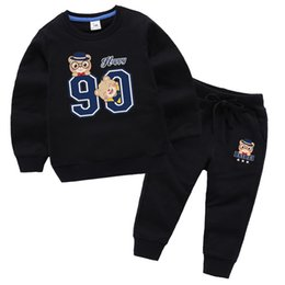 Discount baby boy black clothes - 2pcs Suit child Kids Baby Boys girls Autumn Spring Trousers Elastic Pants Cartoon Clothes + T-shirt Tops Long sleeve Spo