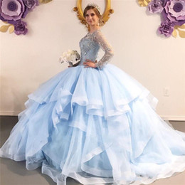 long size t shirt 2020 - Sky Blue Major Beading Crystal Quinceanera Dresses Scoop Ball Gown Sheer Long Sleeves Sweet 16 Evening Dress Plus Size P