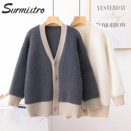 Korean women winter long coat online shopping - Surmiitro Casual Knitted Jacket Women For Autumn Winter Ladies Korean Long Sleeve Cardigan Female Sweater Coat SH190912