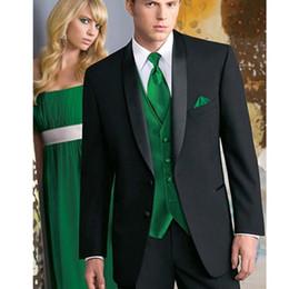 Satin Pant Suit NZ - Custom Made Tailored men BESPOKE suit black mens suits tuxedo with satin lapel and green vest (Jacket+Pants+Vest+Tie)