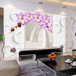 PurPle wallPaPer walls online shopping - 3d romantic white wall with purple flowers simple wallpaper TV sofa bedroom Europe Roman column magnolia background wall paper