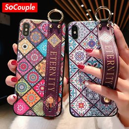 Vintage Tpu Case Australia - Wrist Strap Soft TPU Phone Case For iphone 7 8 6 6s plus Case For iphone X Xs max XR Vintage Flower Pattern Holder Case