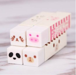 Kawaii Lipstick Australia - 2PCS Cute Kawaii Stripe Rubber Eraser Lovely Cartoon Cat Bear Erasers For Kids Gift Korean Stationery