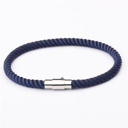 $enCountryForm.capitalKeyWord Australia - Navy Blue Thread Bracelet Women Men Silver Color Buckle Charm Boys' Gift Jewellery Wholesale Price Pulsera Roja