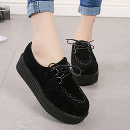 $enCountryForm.capitalKeyWord Australia - Creepers Women Flats Comfort Women Shoes Platform Shoes Lace-Up Female Espadrilles Suede Black Casual Ladies Loafers