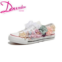 Flower Canvas Shoes Australia - Downton Handmade Flowers Pearls Wedding Shoes Sneakers Bridal flat Shoes Canvas plimsoll bridesmaid Sneaker shoes size 35-39