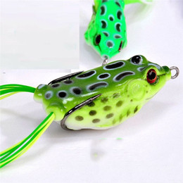 Wholesale Fishing Tackle Lures Australia - Fishing Tackle Frog Lures for Snakehead Lifelike Soft Thunder Frog Fishing Baits with Hook Top Water Plastic Lure