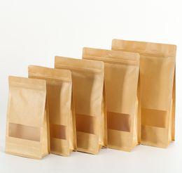 $enCountryForm.capitalKeyWord UK - 100pcs lot Brown Square Kraft Paper Bags Zipper Standup Window Packaging Gift Bags Food Coffee Candy Wedding Gift Ziplock Bags