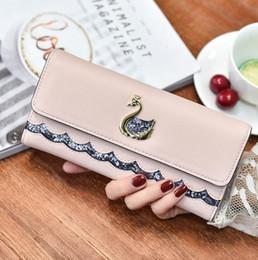 Woman Fans Australia - Factory direct selling women bags sweet Swan decoration women long wallet European and American fan tablets wallets lovely ladies purses