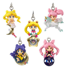 halloween sailor moon Australia - 5 Pcs Set Anime Soldier Sailor Moon Girl Warrior Luna Cat Stars Unicorn Q Edition Pendant Action Figure Dolls For Kids