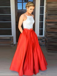 Back Two Piece Prom Dress Australia - Cheap Two Piece Prom Dresses A Line Long 2019 Sexy Open Back Straps Top Lace Satin Floor Length Cocktail Paty Dress Plus Size