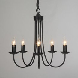 Bedroom Chandeliers Candles Australia - European iron candle chandelier E14 5 heads For living room bedroom dining room hanging lamps retro garden bar Home lighting E006