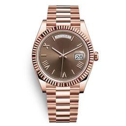 President Dag Datum Guld Perpetual Fashion Mens Watch Lady Girl Party Rostfritt Stål Automatiska Män Klockor Montre Femme Reloj