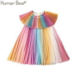 girls pleated chiffon dresses UK - Humor Bear Summer New Girls Dress Doll Collar Gradient Chiffon Fashion Pleated Dress Princess Party Dresses Baby Girls' Clothing T200624
