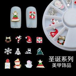 Christmas Gift Nails Australia - Hot Sale Beautiful Nail Ornament Fashion Christmas Turntable Series Snow Gift 12 Lattice Alloy Materail Melodi 3d Nail Art Stickers-YWOM-04