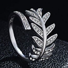 Rose Leaf Gold Plated Australia - Agood fashion jewelry accessories for women open ring silver plated leaf shape with rhinestone wide rings for love couples rose gold color
