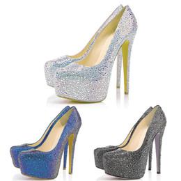 900dffa234e61 New Designer Pumps Red Rottoms Wedding Shoes Glitter Rhinestone 16CM High Heels  Crystal Platform Party Dress Shoes 35-42