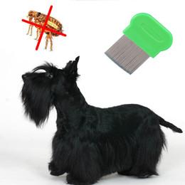 Pet Flohkämme Hund Sauber Kammbürste Haarpflege Werkzeug Edelstahl Lange Nit Lice Flohkamm OOA6768 im Angebot