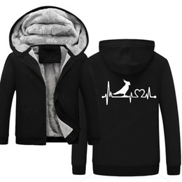 winter warm hoodie zip up NZ - hot Parrot Cockatoo Bird Heartbeat Lifeline Men's Winter Hoodie Autumn Casual Super Warm Thicken Zip Up Sweatshirt Coat