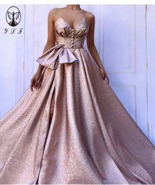Ingrosso 2019 Rose Gold Vestidos De Formature Off the Sweetheart Sweetheart della coscia alta fessura Bling Bling Prom Dresses
