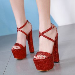 45a82df65aba Summer luxury sequins open toe women sandals 17.5cm ultra thick high heel  platform party dress shoes red silver green size 35-40