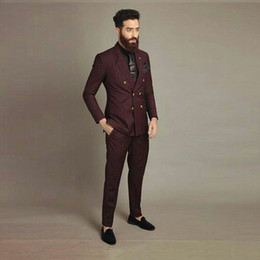 Discount male summer wear - Burgundy Suits Male Blazer Double Breasted Groom Tuxedos Best Man Outfits Costume Homme Peaked Lapel 2Piece Man Wear Sli