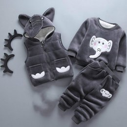 BaBy Boy velvet jacket online shopping - Boy Suit Fashion Sports Winter Elephant Plus Velvet Thick Three piece Boys and Girls Baby Winter Suit Baby Thick