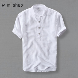 $enCountryForm.capitalKeyWord Canada - Wmshuo Mens Shirts Fashion 2019 Summer Short Sleeve Slim Linen Shirts Male White Color Casual Shirts Plus Size 4xl Tops Y001 Q190427