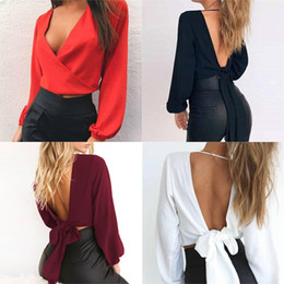 $enCountryForm.capitalKeyWord Australia - 2019 Spring Summer New Crop top T-shirt women Sexy Slim Cropped Lace Up Tie Cross Low V-neck Backless Tops T-shirts tee shirt
