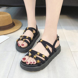 Thick Sole Sandals Australia - Sandals female 2019 spring Korean version of the wild student thick-soled platform shoes Harajuku style stars flat Roman shoes