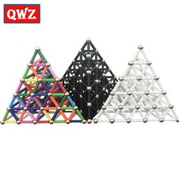 magnetic construction toys for children NZ - QWZ 50pcs-280pcs Magnet Bars & Metal Balls Magnetic Construction Creative Toys DIY Designer Educational Toy For Children Gifts SH190913